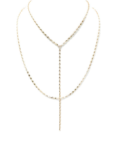 Gold Double Chain Long Necklace