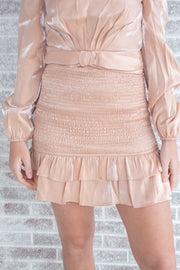 Melting Hearts Metallic Smocked Mini Ruffle Skirt