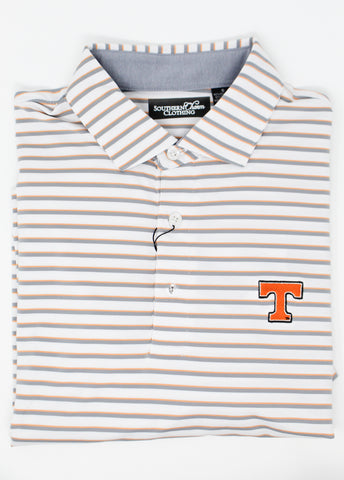 Southern Charm - TN Neyland Performance Polo - White/Orange/Grey