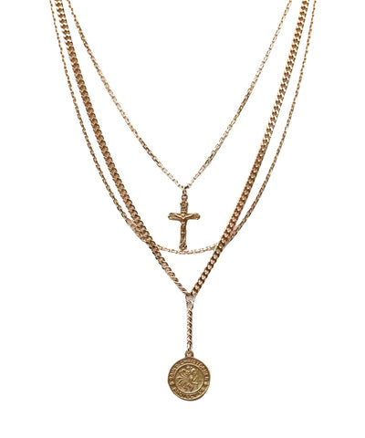 Guardian Coin & Cross Layer Necklace Gold