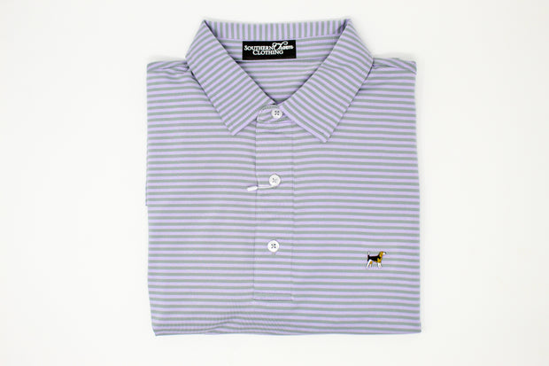 Southern Charm - Cove Stripe Performance Polo - Silver/Lavender