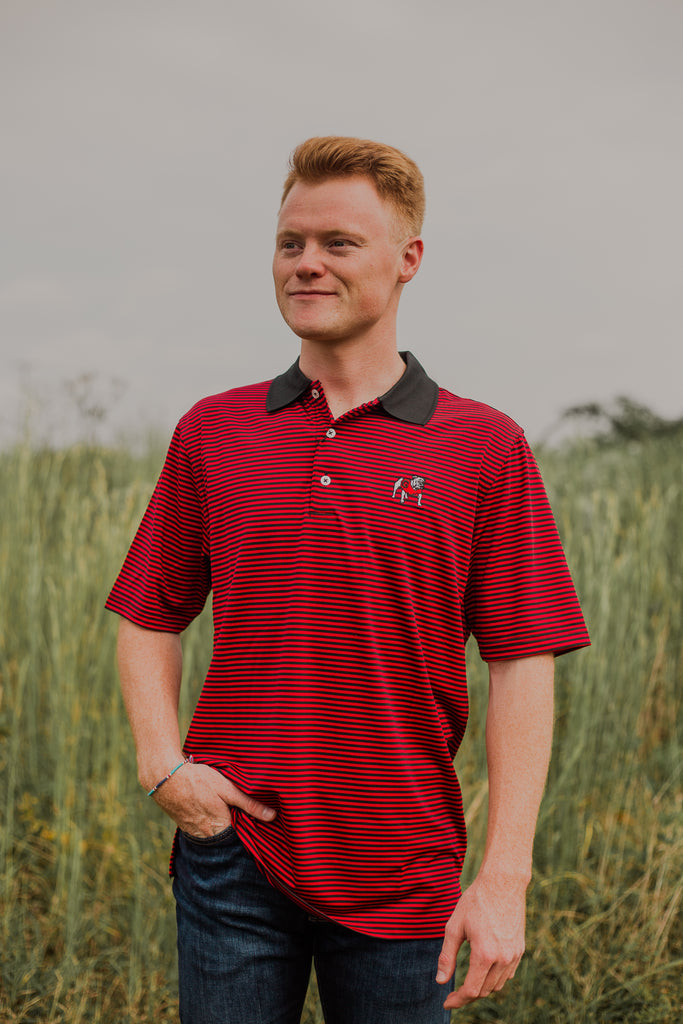 Southern Charm - UGA Swift Stripe Performance Polo - Black/ Red
