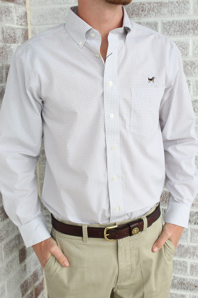 Southern Charm - Performance Button Down - Gray/White