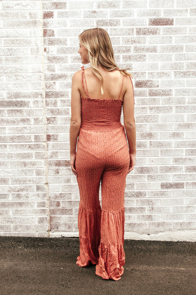 Straight From Paradise Smocked Jumpsuit