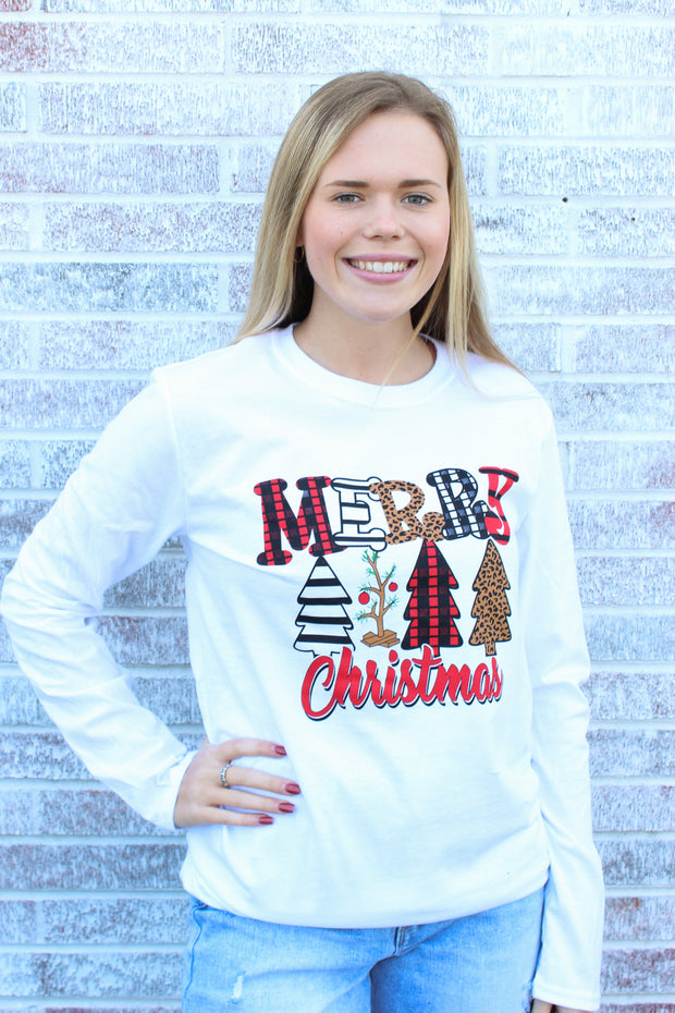 "Southern Charm - ""Merry Christmas"" Multi Tree LS Tee"