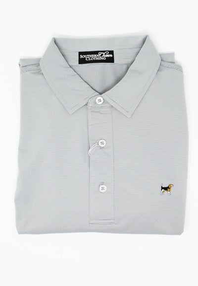 Southern Charm - Pin Stripe Performance Polo - Silver/White