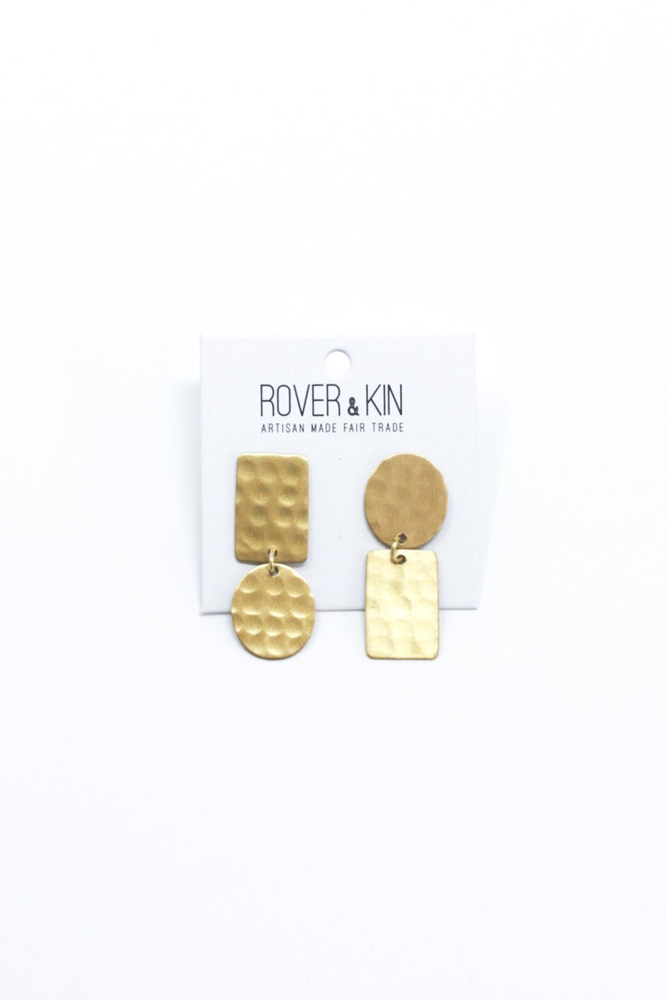 Rover & Kin Hammered Flipped Shapes Earrings - Gold