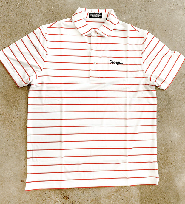 Southern Charm - GA Script Performance Polo - White/Red/Silver