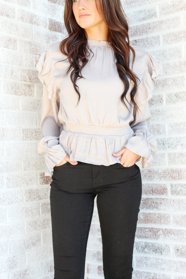 Crushed It Ruffled Peplum Top