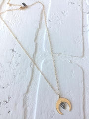 Gold Crescent & Gunmetal Triangle Necklace