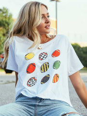 Friday + Saturday - Retro Football Crop Tee