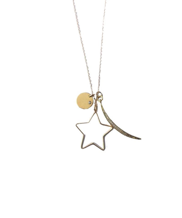 Gold Star, CZ Moon, & Coin Necklace