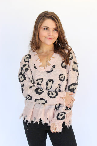 On Trend Frayed Leopard Sweater