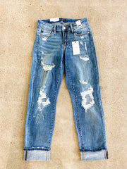 Judy Blue - Distressed Bleach Splash Boyfriend Jeans