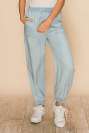 Letting Loose Chambray Denim Joggers
