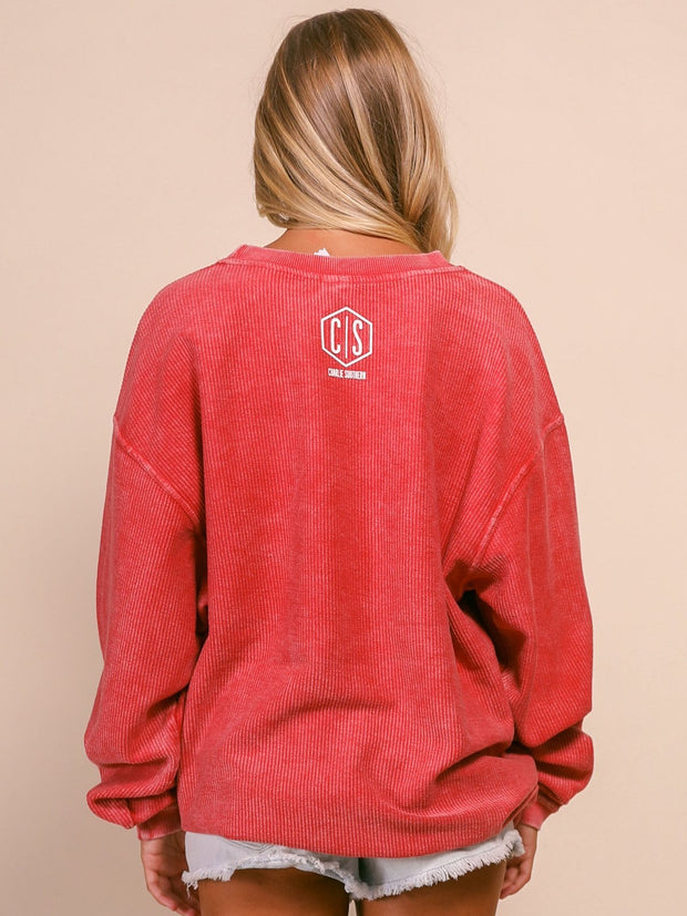 Charlie Southern Corded Sweatshirt - On Gameday We Wear Red