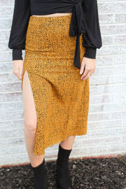 Right Back To It Cheetah Slit Midi Skirt