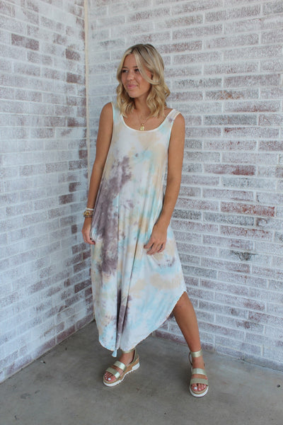 Simply Stylish Tie Dye Maxi Grey/Apricot