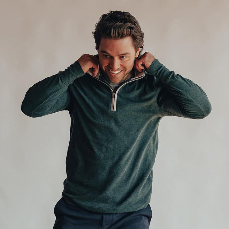 The Normal Brand - Puremeso Quarter Zip Pullover - Green