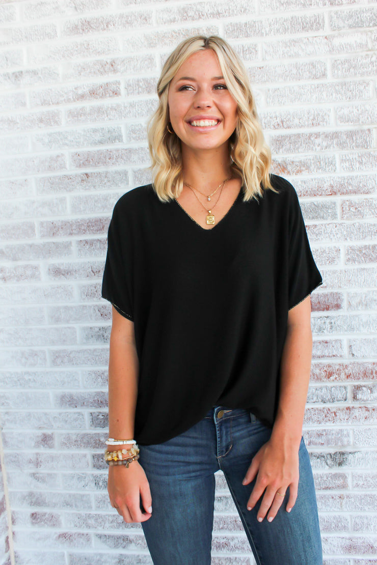 Midnight Blues Gold Trim V-Neck Top