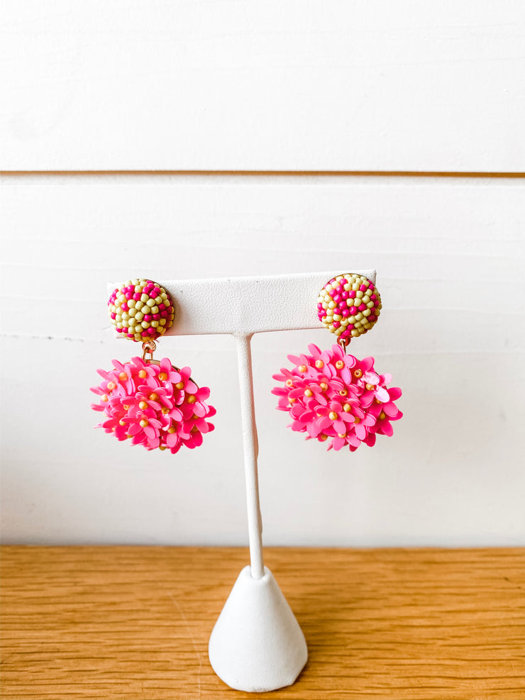 Flower Circle Earrings Hot Pink/Yellow