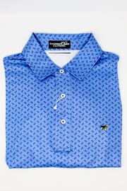 Southern Charm - Floral Printed Performance Polo - Sky/Monaco Blue