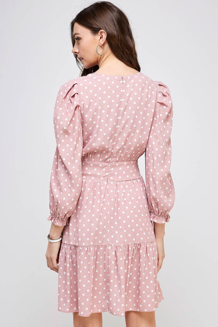 Smocked Polka-Dot Swing Dress