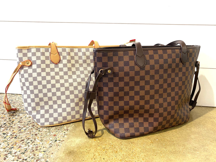 Checkered Tote Bag with Wristlet