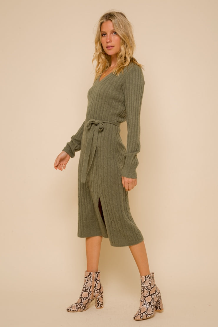 When You Land Cable Knit Belted Midi Dress