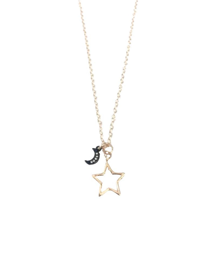 Mini Star & Gunmetal Moon Necklace