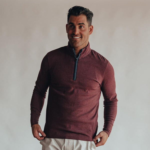 The Normal Brand - Puremeso Quarter Zip Pullover - Wine