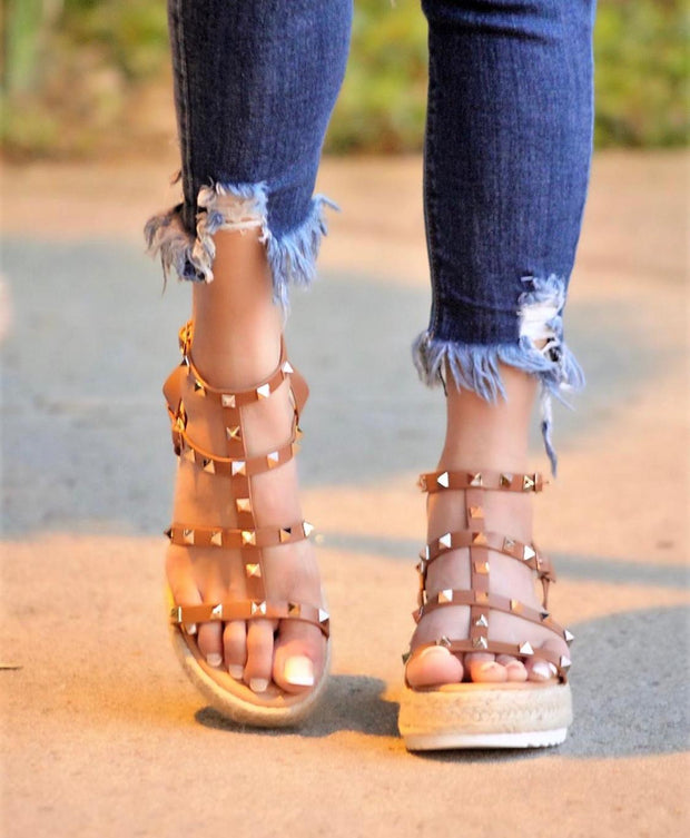 Daniela Studded Espadrille Wedge