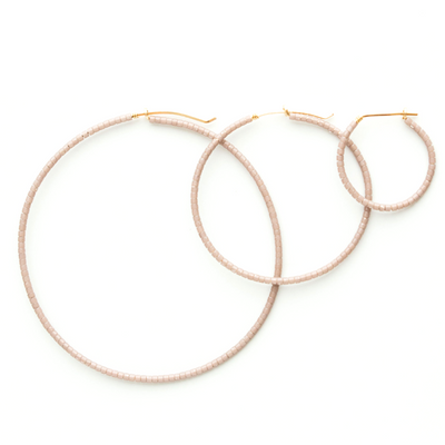 Erika Micro Beaded Small 14k Hoops Mink