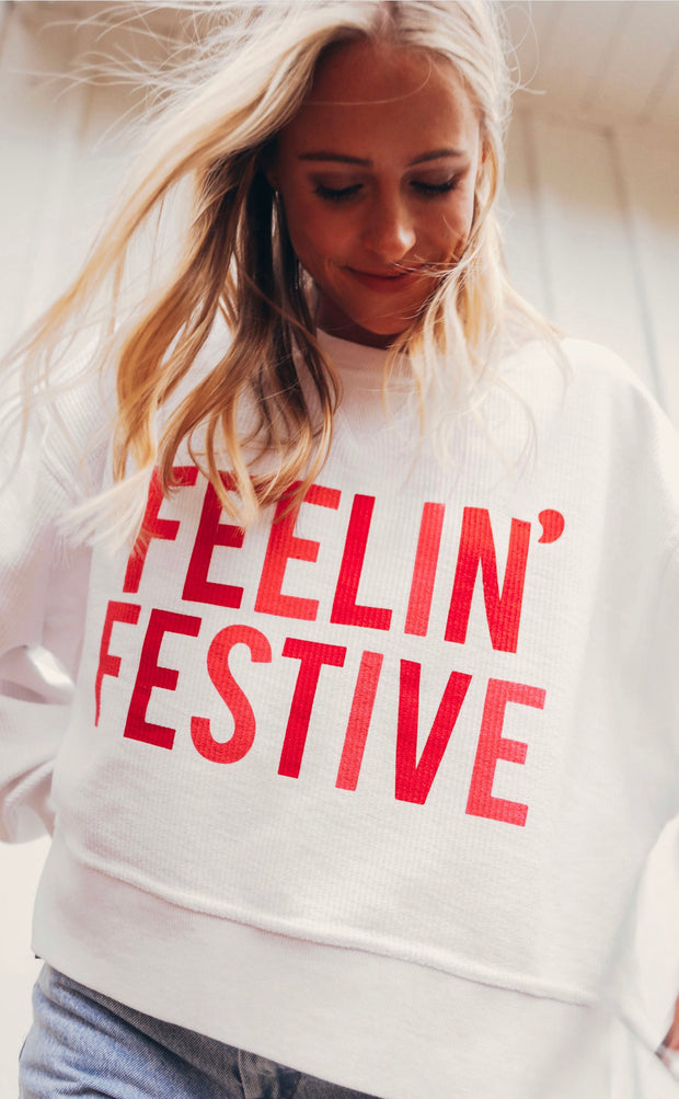 Friday + Saturday - Crop Cord Sweatshirt - Feelin Festive