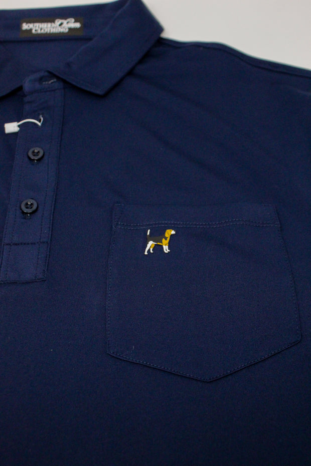 Southern Charm - Solid Performance Pocket Polo - Navy