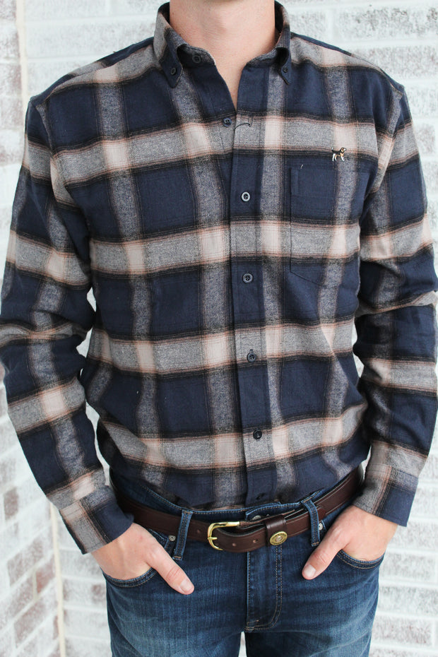 Southern Charm - Performance Flannel - Navy/Brown