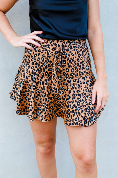 Here For You Leopard Mini Skort