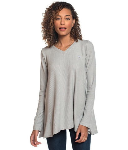 Southern Shirt Waffle Knit V-Neck Top- High Rise