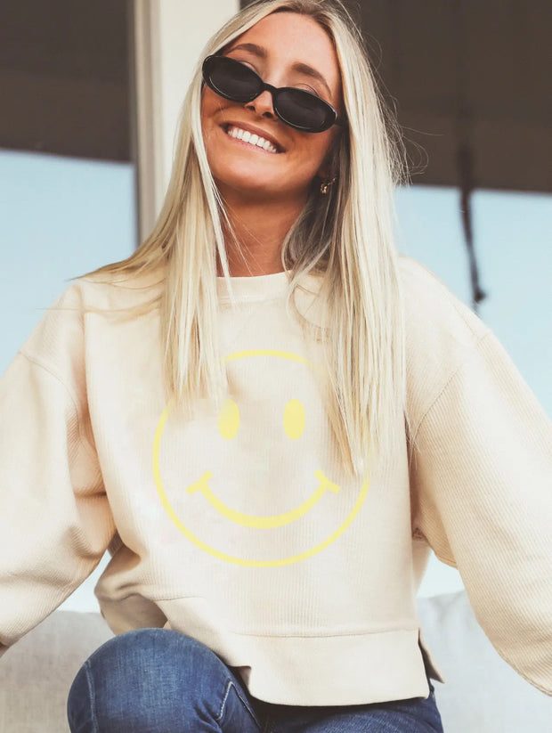Friday + Saturday Cropped Corded Sweatshirt - Smiley Face