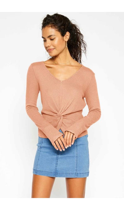 Waffle Knit V-Neck Knot LS Top