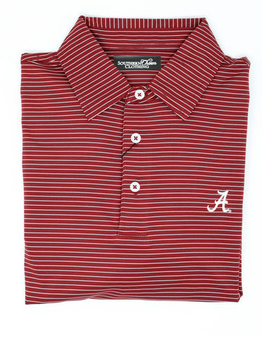 Southern Charm - UA Tuscaloosa Stripe Performance Polo - Crimson/White