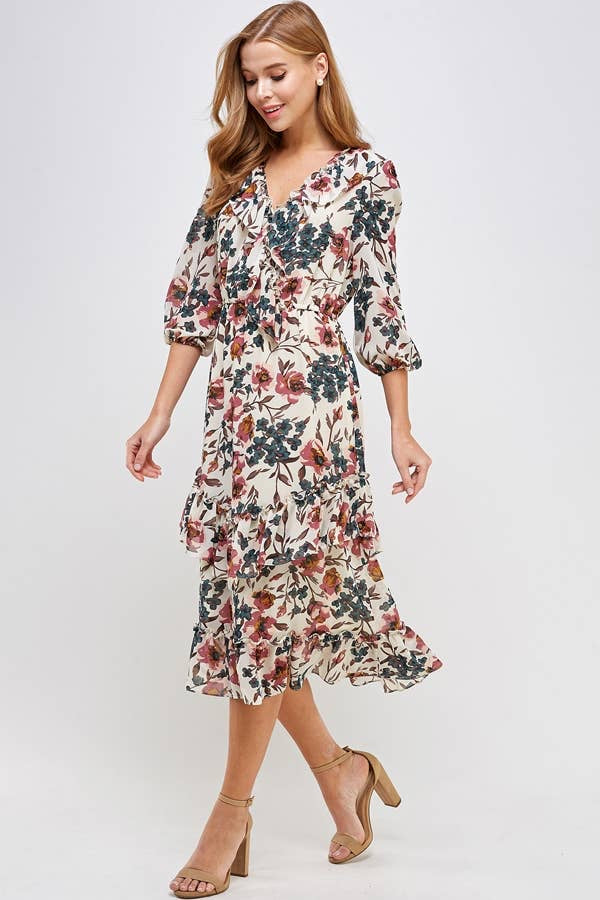 Away with the Wind Floral Dress