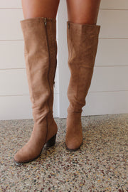 Pierre Dumas Mackenzie Tall Suede Boot Taupe