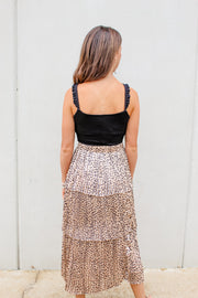 Look At Me Now Pleated Tiered Leopard Skirt