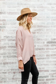Always Great V-Neck Cuff Sleeve Top