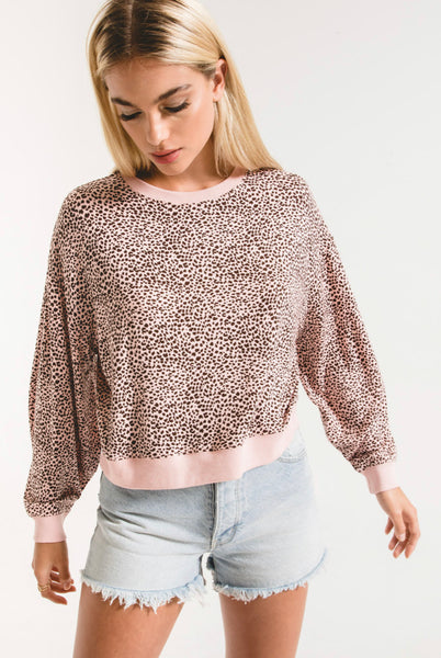 Z Supply The Mini Leopard Tee - Pale Blush