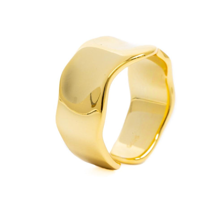 Bracha Waved Ring Gold