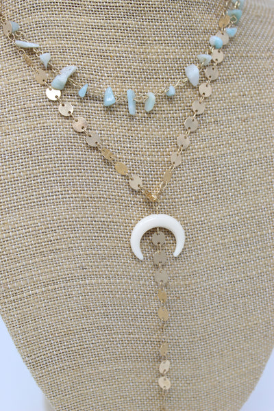 Horn Stone Layer Y Necklace Turquoise