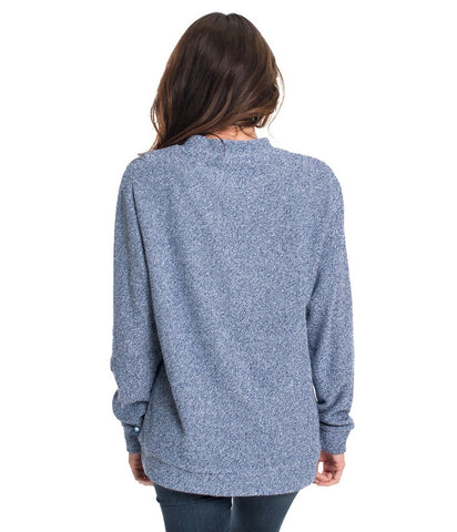 Southern Shirt Heather Loop Knit Terry Pullover - Estate Blue