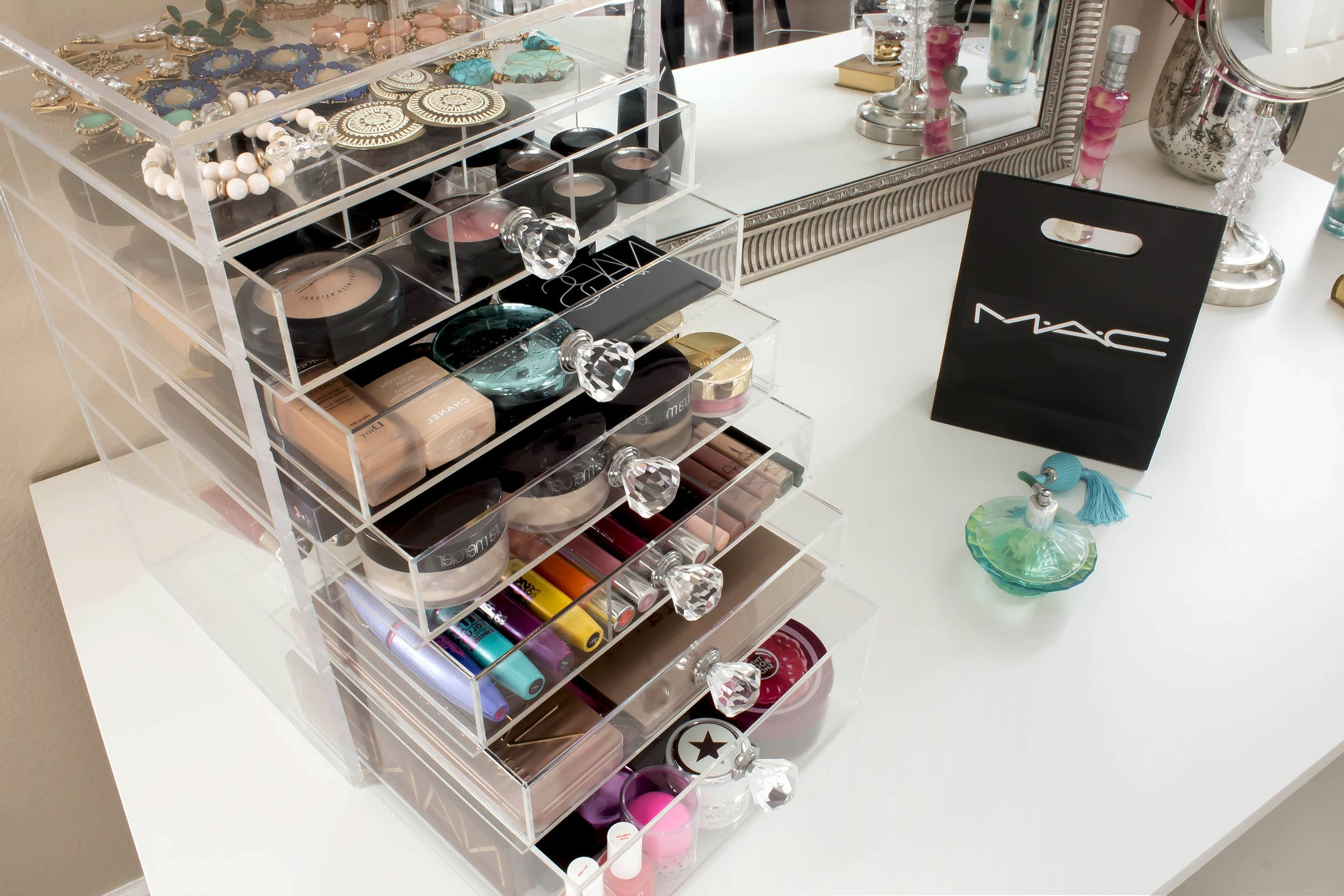 ... Storage · Clear Acrylic Makeup Organizer With 6 Drawers Flip Top and Diamond Handles ... & Clear Acrylic Makeup Organizer Kardashian-style storage Cutie Cube ...